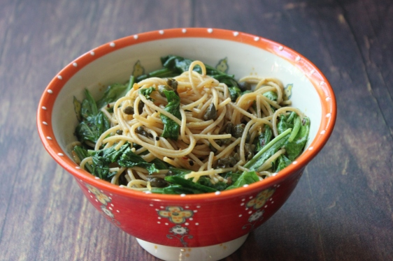 lemony spaghetti with capers and arugula