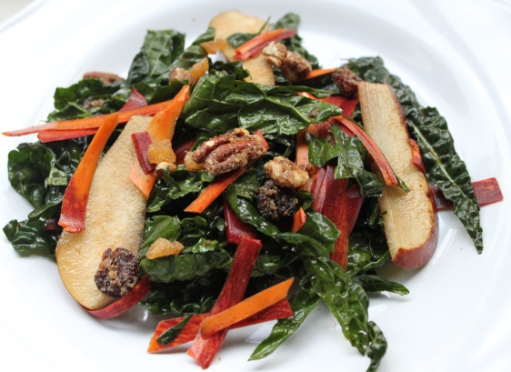 kale salad with pear and pecans